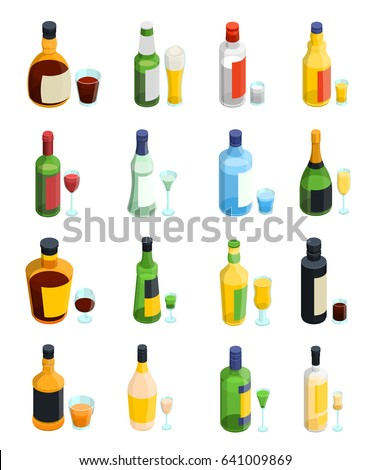 Colored isometric alcohol icon set with isolated bottles and different kinds of glass goblets vector illustration