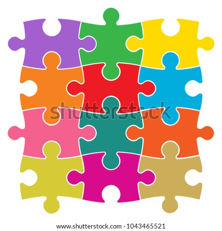 Colored Jigsaw Puzzle Pieces Vector Illustration
