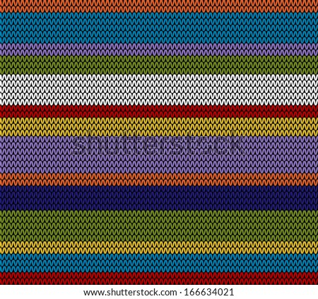 Colored knitted pattern stripes - stock vector