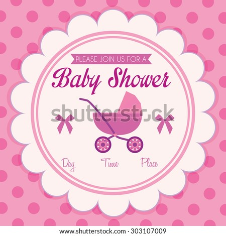 Colored label on a textured background for baby showers. Vector illustration - stock vector