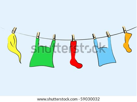 Colored laundry - vector.