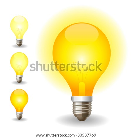Colored light bulbs icons - stock vector