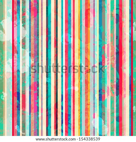 colored lines seamless pattern with blots effect - stock vector