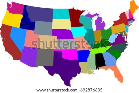 Map United States America Split Into Stock Vector 693332515