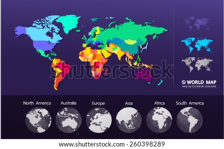 Colored map of the World vector illustration - stock vector
