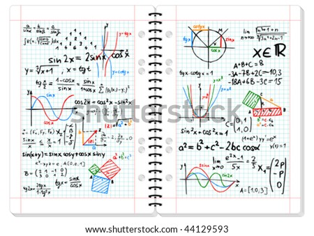 Colored mathematical formulas and sketches on squared pad - vector illustration - stock vector