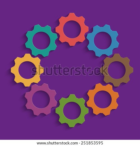 Colored mechanism of gears on purple background - stock vector