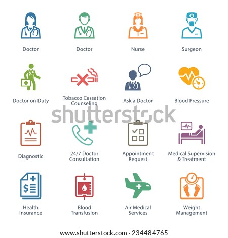 Colored Medical & Health Care Icons Set 2 - Services  - stock vector