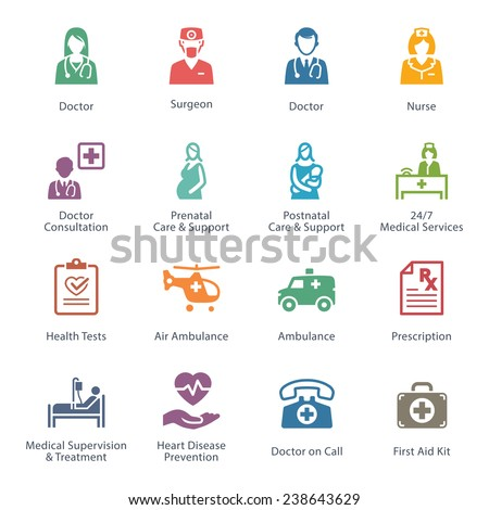 Colored Medical & Health Care Icons Set 1 - Services  - stock vector