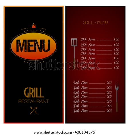 Colored menu design with text and elements, Vector illustration