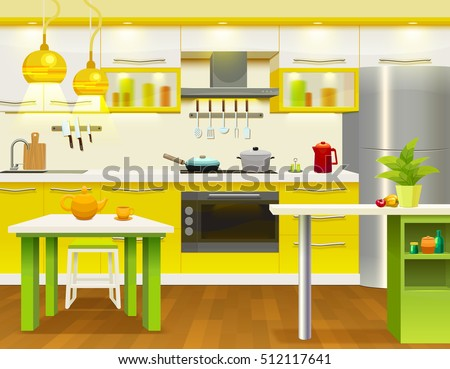 Colored Modern Kitchen Interior Design With Newly Renovated Necessary  Kitchen Furniture And Utensils Vector Illustration