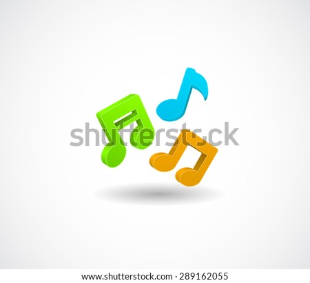 colored music notes 3d icon  - stock vector