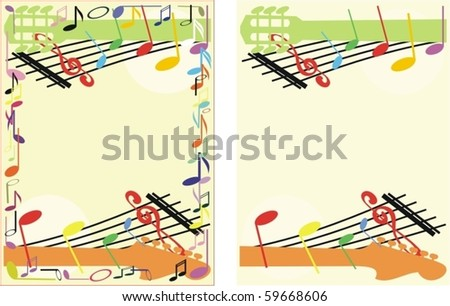 colored musical frame/vector - stock vector