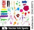 Colored nk and brush spots. Vector illustration - stock vector