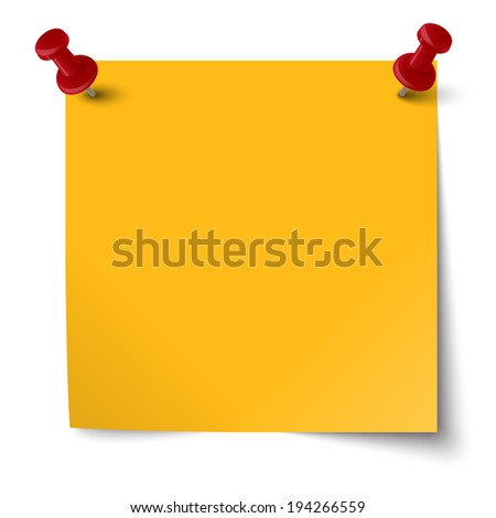 colored note with pin needle - stock vector