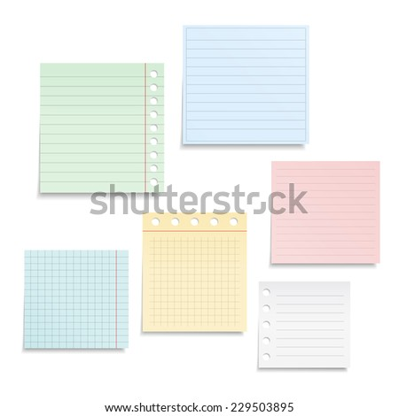 Colored notebook paper sheets on white background, vector eps10 illustration