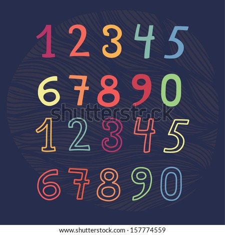 colored numbers set - stock vector