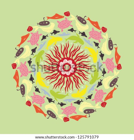 colored ornamental round with fish - stock vector