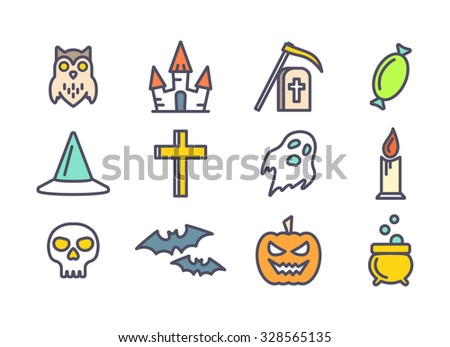 Colored outline vector icons set for Halloween party decoration. Cross, skull, bats and grave signs for design. Owl, ghost, pumpkin, castle and cauldron symbols - stock vector