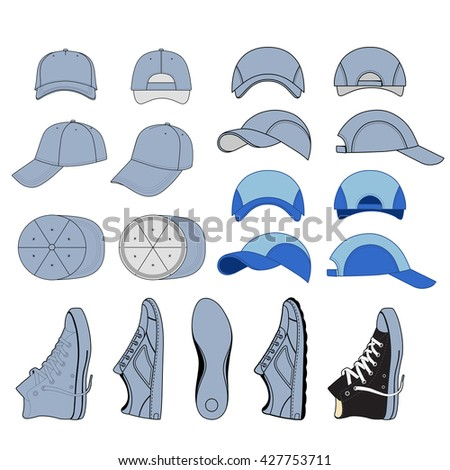 Colored outlined sneakers & baseball cap set, vector illustration isolated on white background