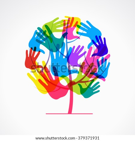 Colored overlapping prints of a human hand in the form of a tree. The file is saved to version 10 EPS. - stock vector