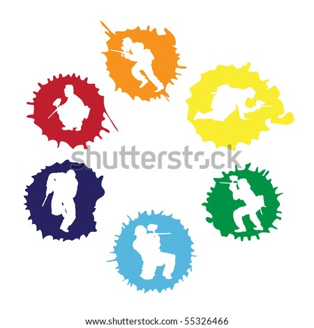 colored paintball silhouettes into the drops, vector illustration - stock vector