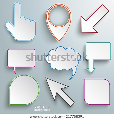 Colored paper markers on the grey background. Eps 10 vector file. - stock vector