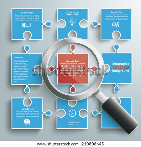 Colored paper puzzle pieces with loupe on the grey background. Eps 10 vector file. - stock vector