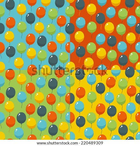 Colored party baloons pattern. Birthday, wedding, anniversary, jubilee, rewarding and winning invitation design. Seamless backgrounds. - stock vector