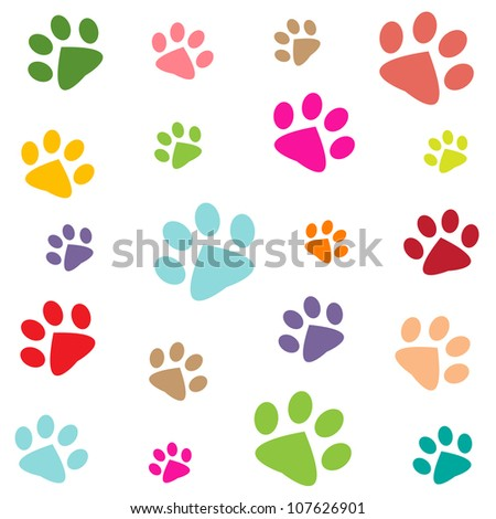 colored pattern with paw prints - stock vector