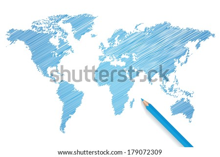 Colored pencil world map vector illustration - stock vector