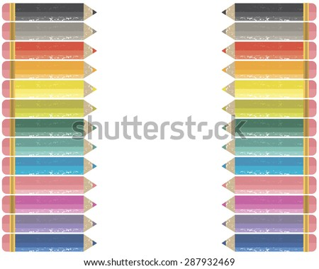 Colored pencils frame for announcements and scrapbooks - stock vector