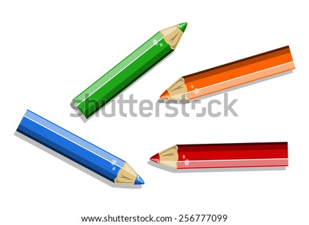 colored pencils on white background vector - stock vector