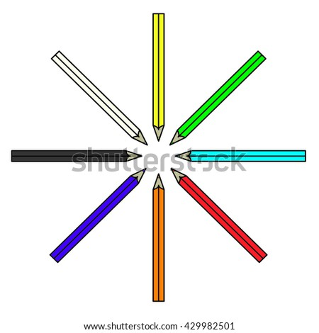 Colored pencils or crayons in a circle