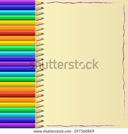 colored pencils, rainbow spectrum, frame vector illustration