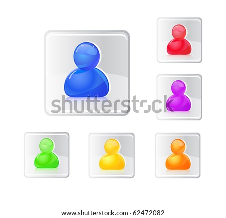 Colored people icon set. Illustration isolated on white. - stock vector