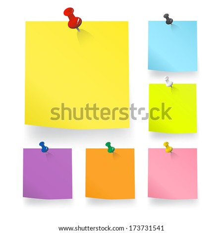Colored pieces of Blank Notes Vector. - stock vector
