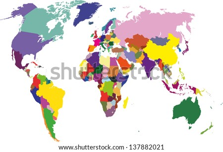 Colored political world map