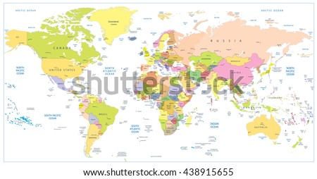 Colored political World Map isolated on white.All elements are separated in editable layers clearly labeled.