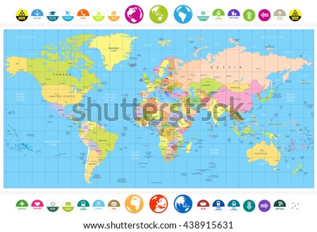 Colored political World Map with round flat icons and globes.All elements are separated in editable layers clearly labeled. - stock vector