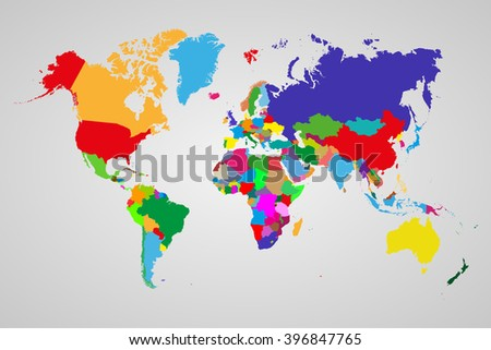 Colored  political world map with sovereign countries and larger dependent territories. Different colors for each countries - stock vector