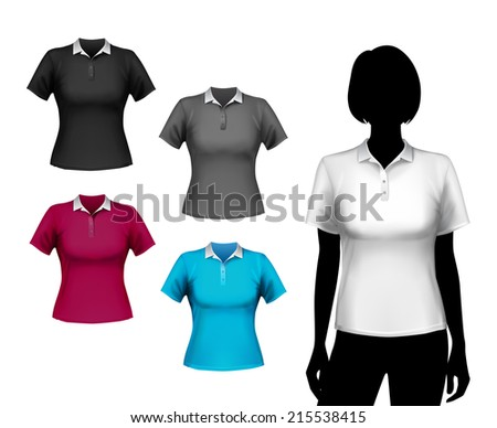 Colored polo short sleeve t-shirts female set with woman body silhouette isolated vector illustration