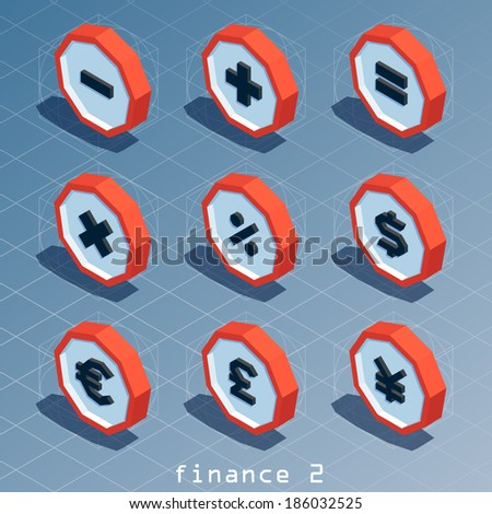 colored polygonal isometric finance icon set 2 - stock vector