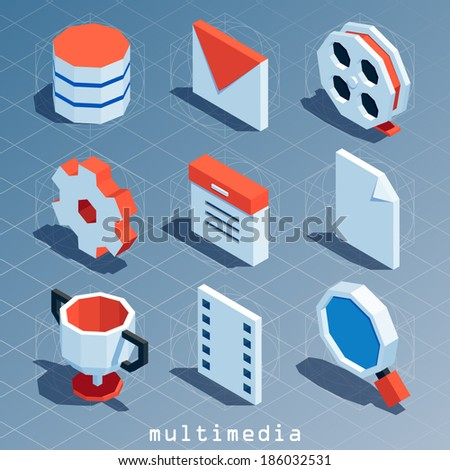 colored polygonal isometric multimedia icon set - stock vector