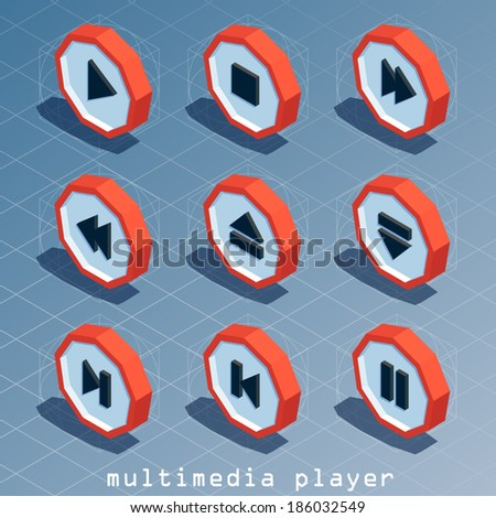 colored polygonal isometric multimedia player icon set - stock vector