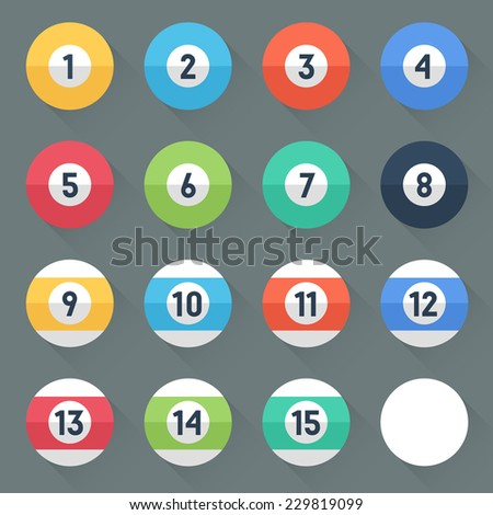Colored Pool Balls. Numbers 1 to 15 and zero ball. Flat style with long shadows. Modern trendy design. Vector illustration. - stock vector