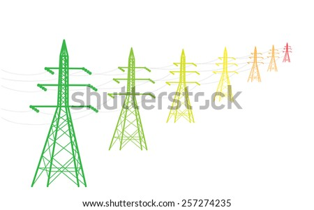 Colored power lines as energy efficiency concept, vector illustration - stock vector