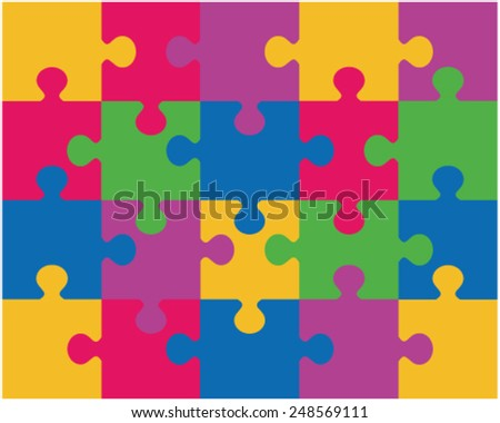 Colored puzzle pattern (removable pieces) 3. vector illustration - stock vector