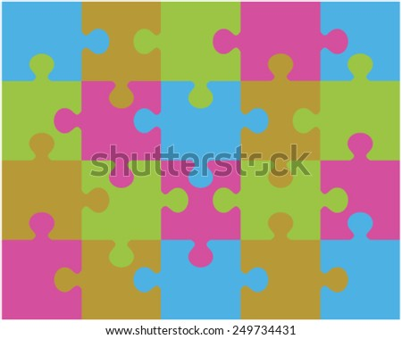 Colored puzzle pattern 2, vector illustration