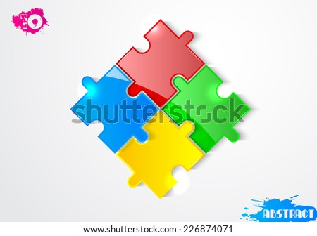 Colored puzzles on a gray background